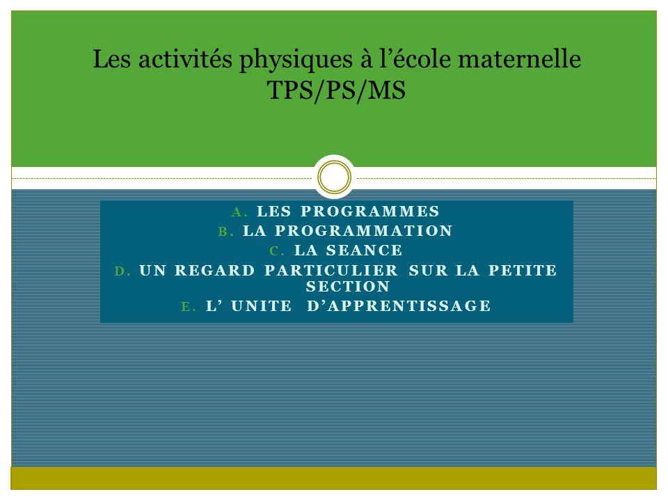 Les activités physiques à l'école maternelle TPS/PS/MS