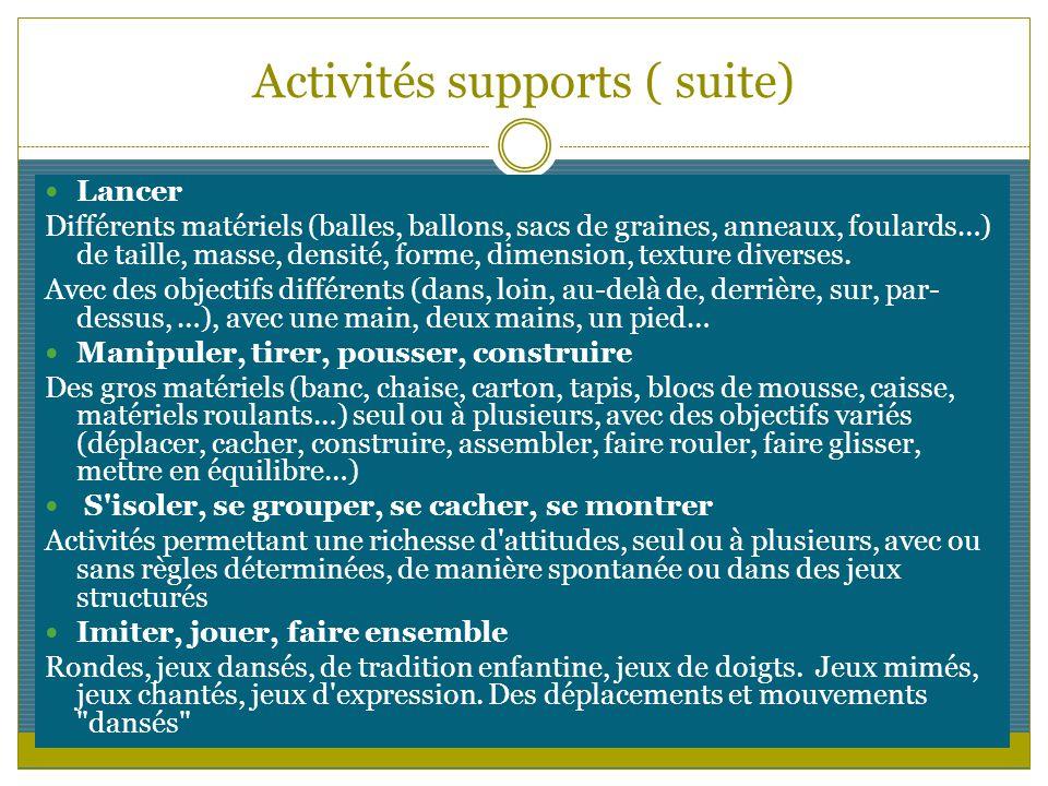 Activités supports ( suite)