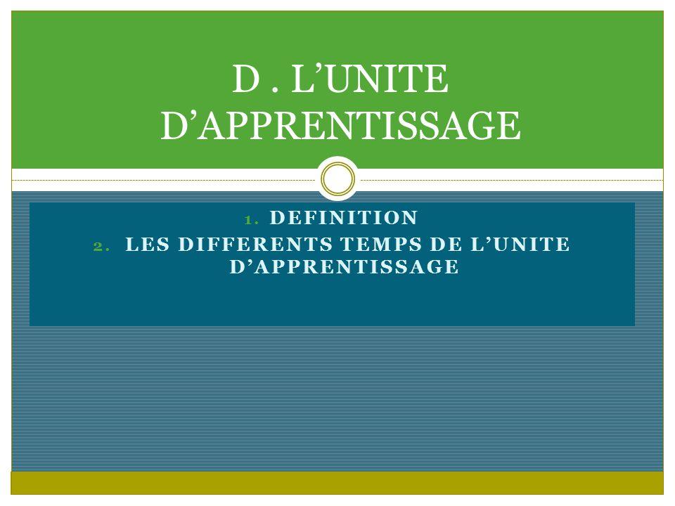 D . L'UNITE D'APPRENTISSAGE