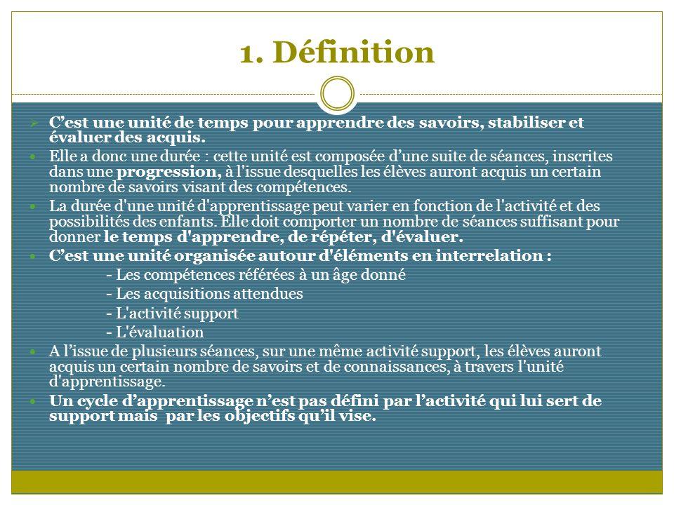 1. Définition C'est une unité de temps pour apprendre des savoirs, stabiliser et évaluer des acquis.