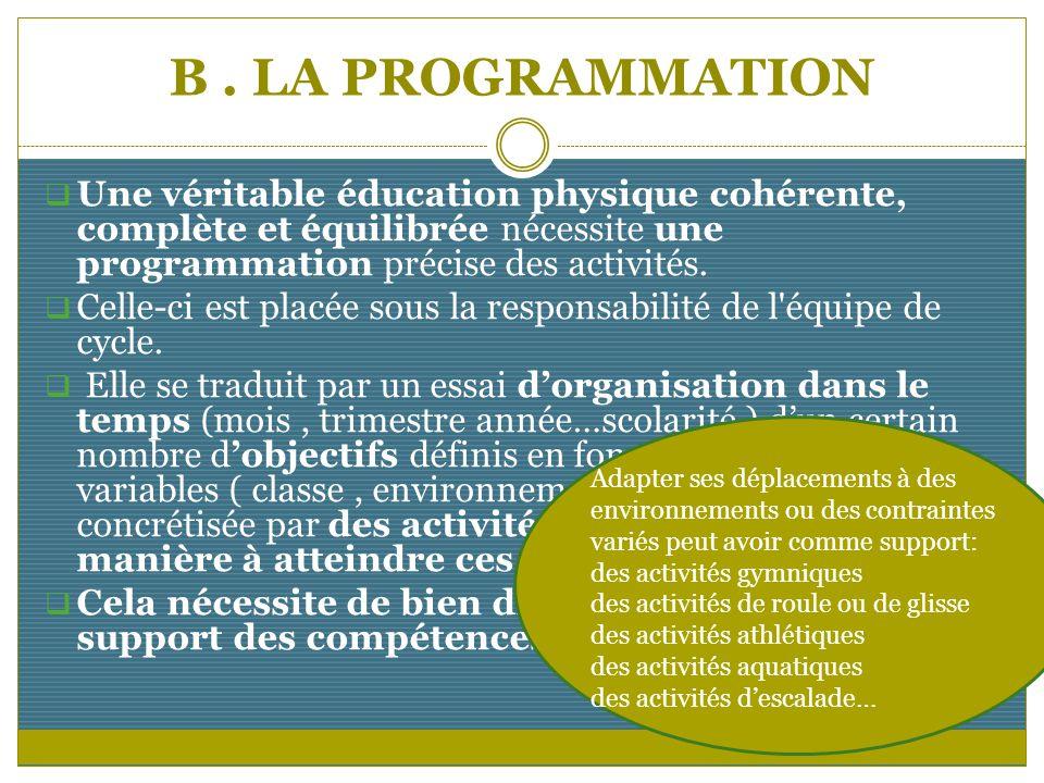 B . LA PROGRAMMATION Une véritable éducation physique cohérente, complète et équilibrée nécessite une programmation précise des activités.