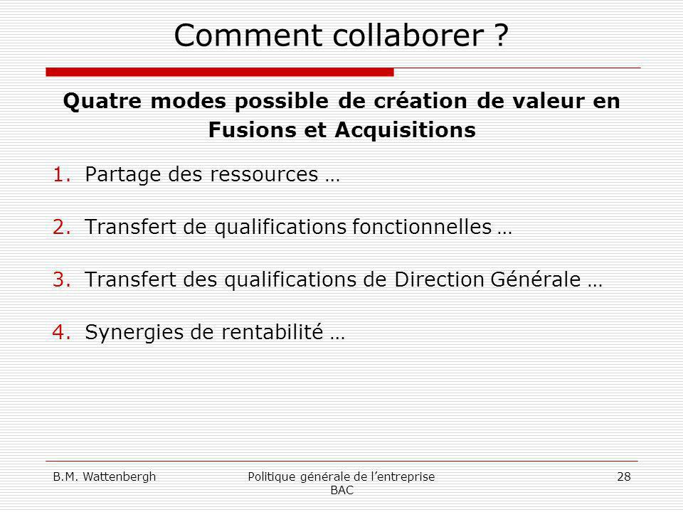 Quatre modes possible de création de valeur en Fusions et Acquisitions