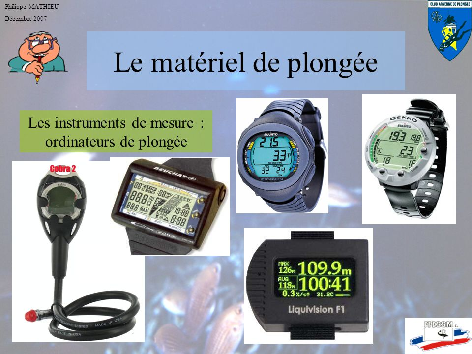 Les instruments de mesure : ordinateurs de plongée