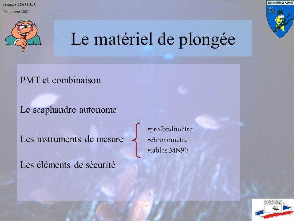 Le matériel de plongée PMT et combinaison Le scaphandre autonome