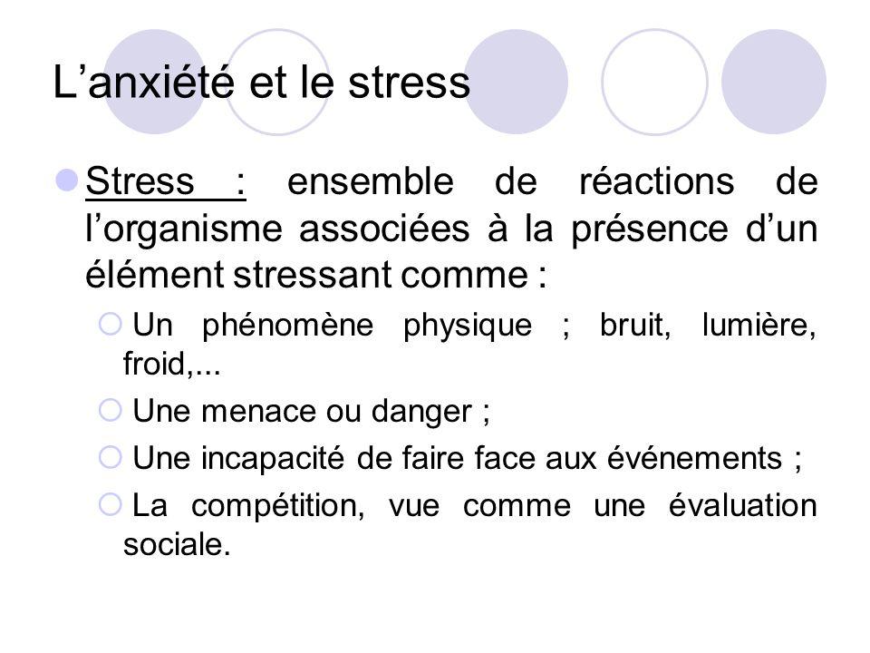 L'anxiété et le stress Stress : ensemble de réactions de l'organisme associées à la présence d'un élément stressant comme :