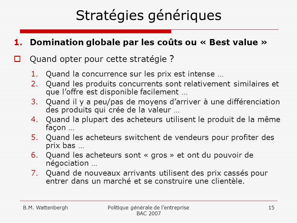 Stratégies génériques
