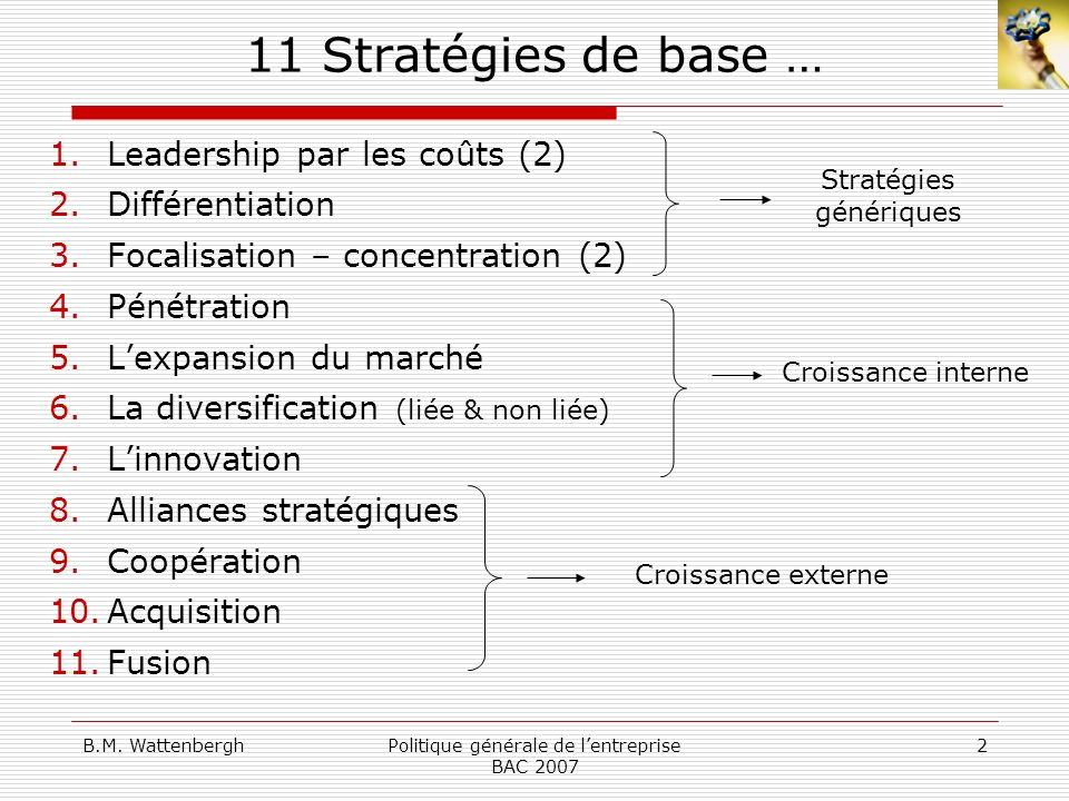 11 Stratégies de base … Leadership par les coûts (2) Différentiation