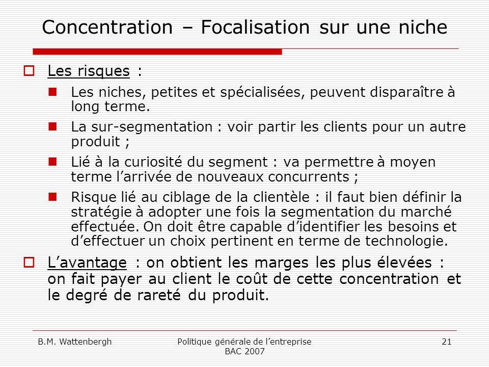 Concentration – Focalisation sur une niche