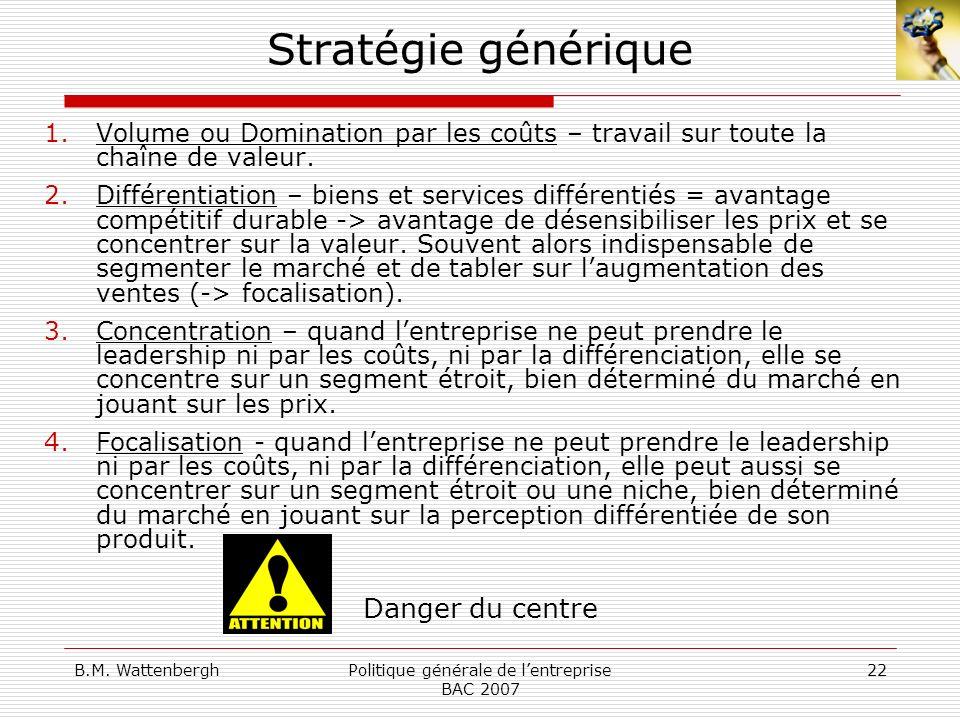 Politique générale de l'entreprise BAC 2007
