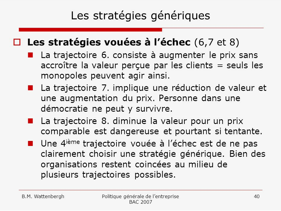 Les stratégies génériques