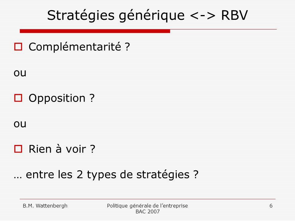 Stratégies générique <-> RBV