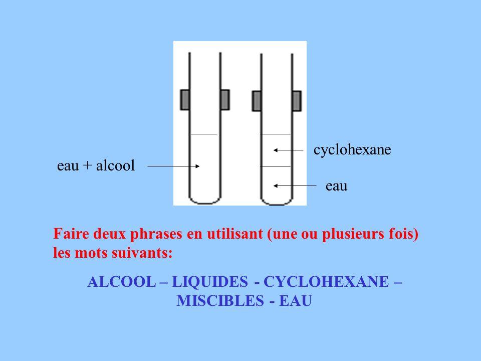 ALCOOL – LIQUIDES - CYCLOHEXANE – MISCIBLES - EAU