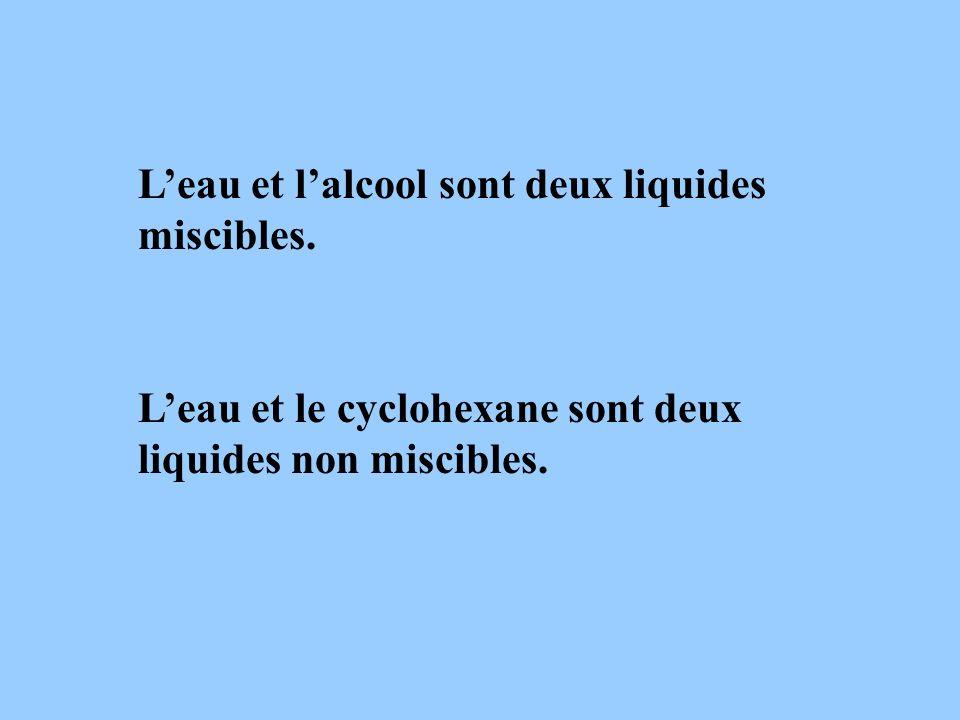 L'eau et l'alcool sont deux liquides miscibles.