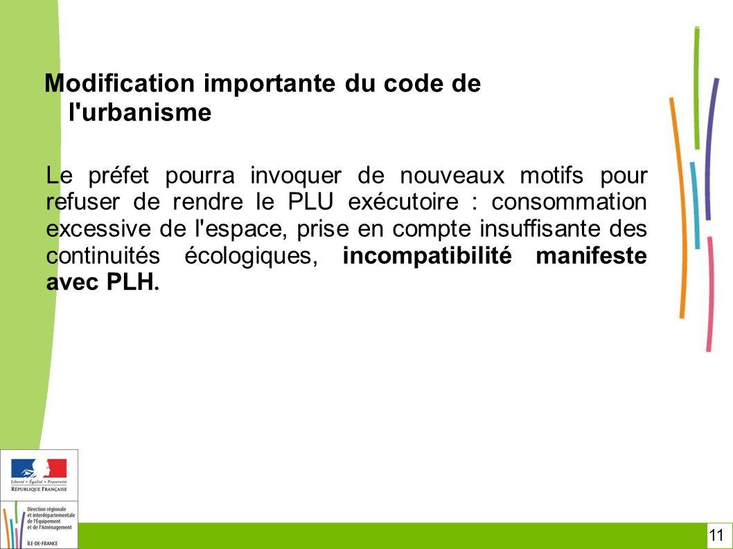 Modification importante du code de l urbanisme