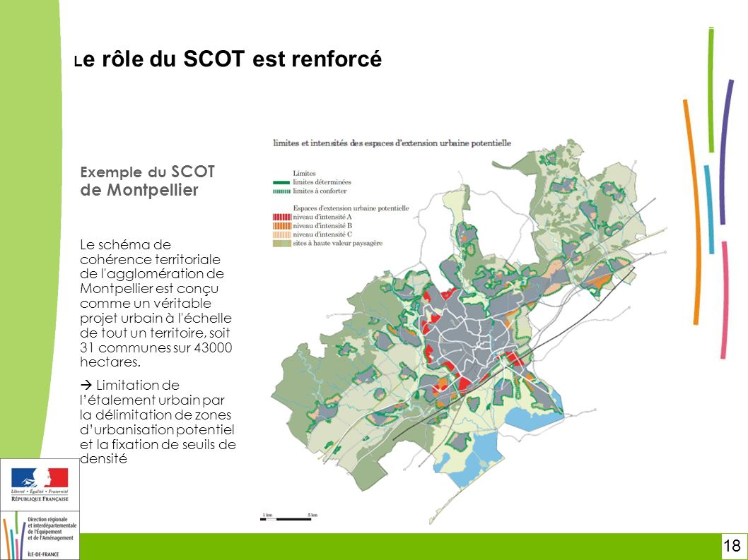 18 Le rôle du SCOT est renforcé Exemple du SCOT de Montpellier