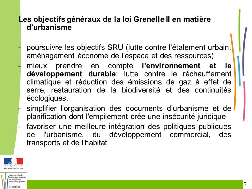 Les objectifs généraux de la loi Grenelle II en matière d'urbanisme