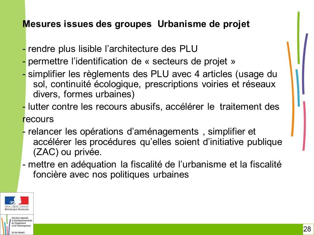 Mesures issues des groupes Urbanisme de projet