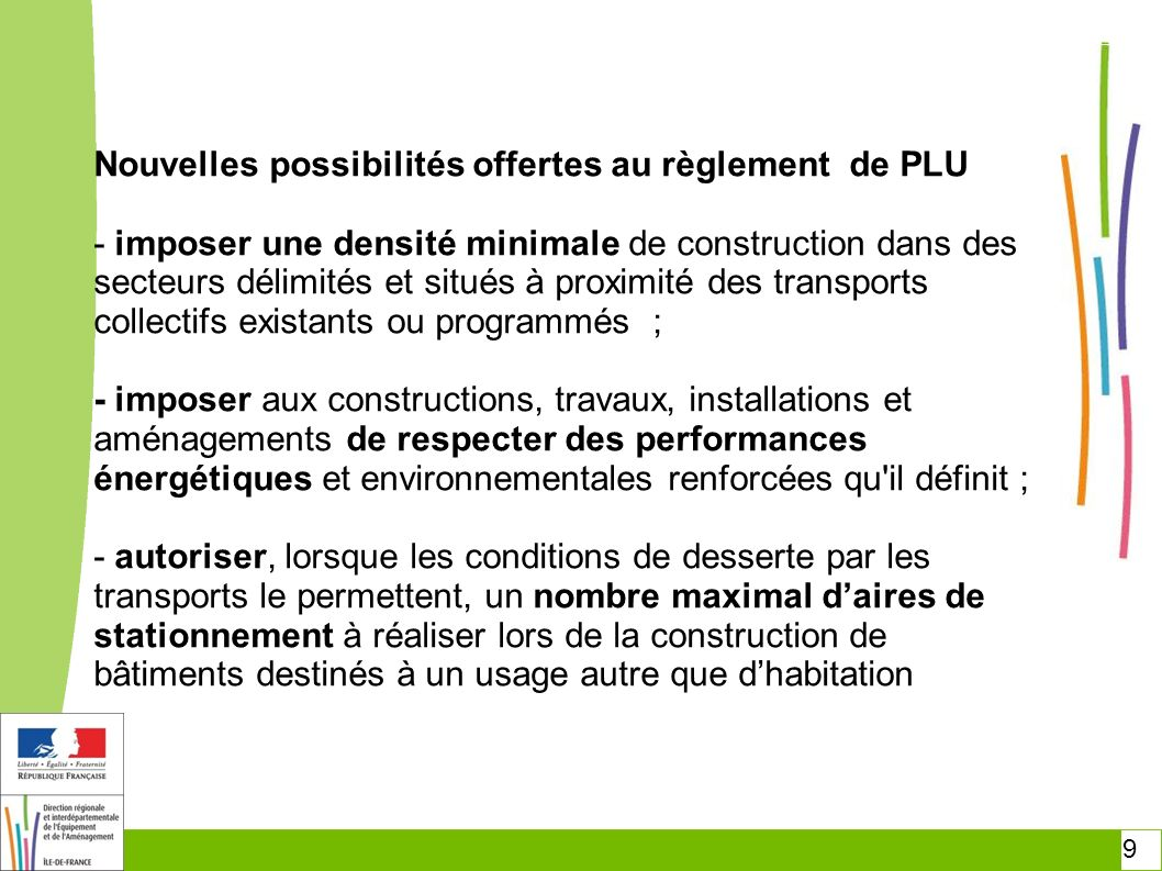 Nouvelles possibilités offertes au règlement de PLU