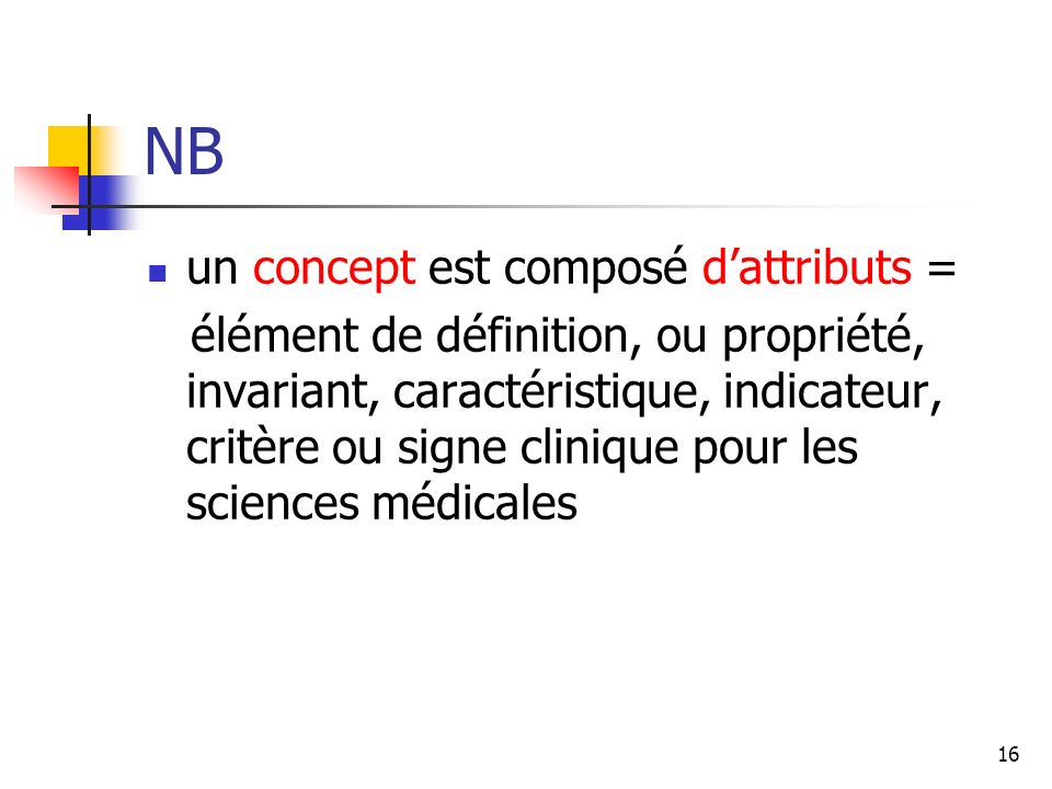 NB un concept est composé d'attributs =