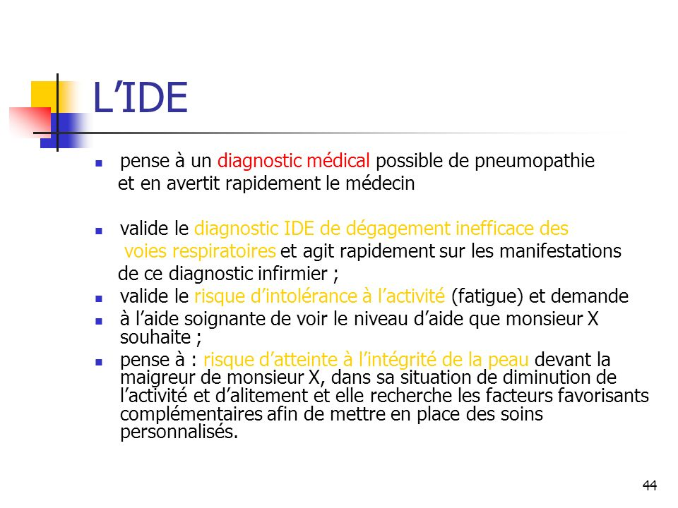 L'IDE pense à un diagnostic médical possible de pneumopathie