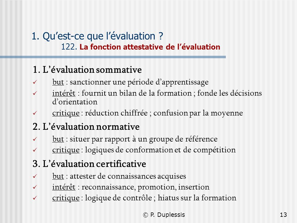 1. L'évaluation sommative