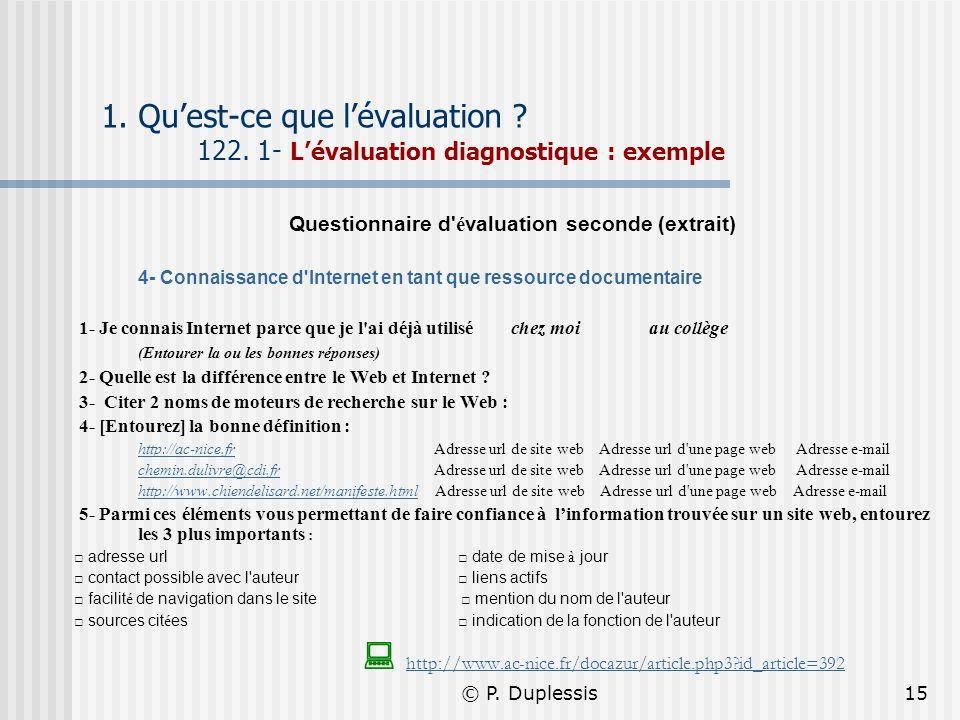 Questionnaire d évaluation seconde (extrait)