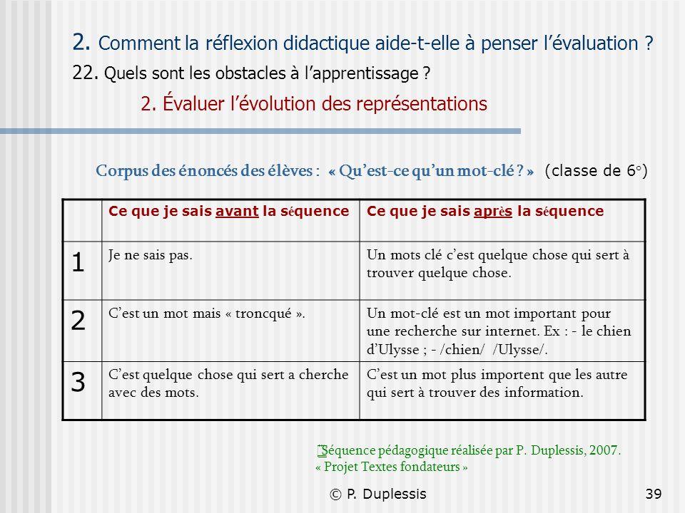 2. Comment la réflexion didactique aide-t-elle à penser l'évaluation
