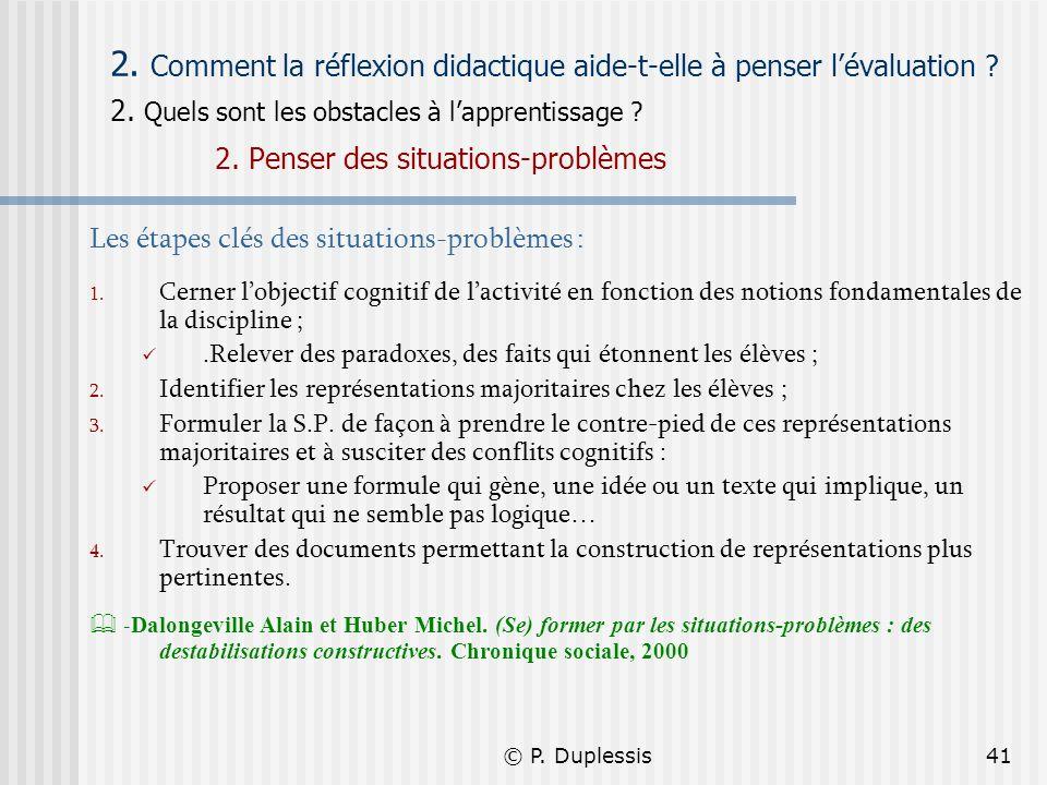 2. Comment la réflexion didactique aide-t-elle à penser l'évaluation 2. Quels sont les obstacles à l'apprentissage 2. Penser des situations-problèmes