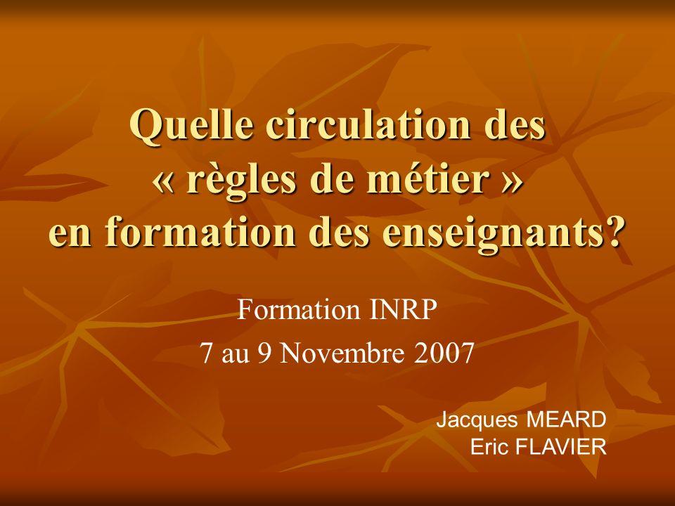 Formation INRP 7 au 9 Novembre 2007