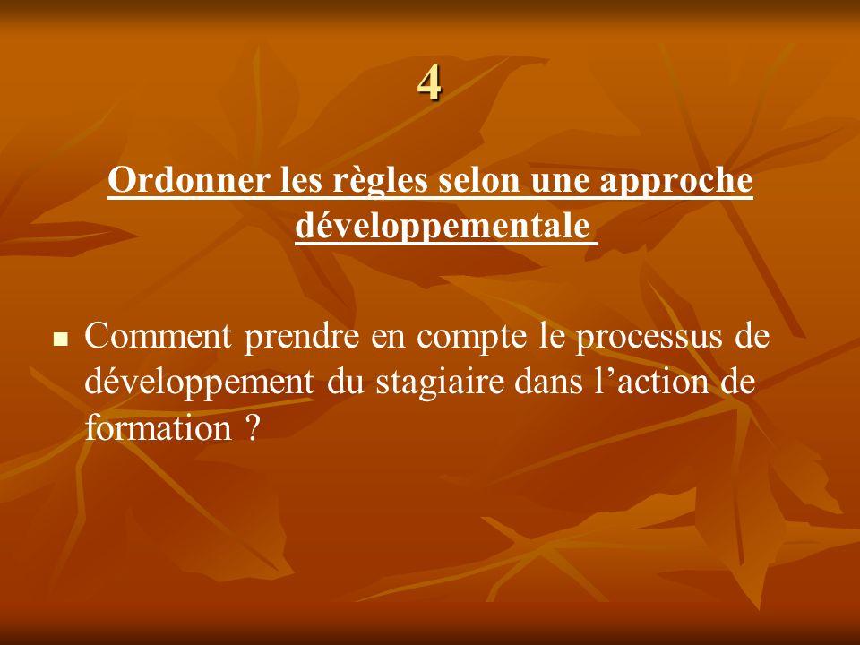 Ordonner les règles selon une approche développementale