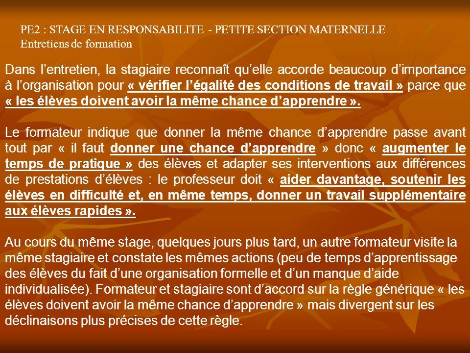 PE2 : STAGE EN RESPONSABILITE - PETITE SECTION MATERNELLE