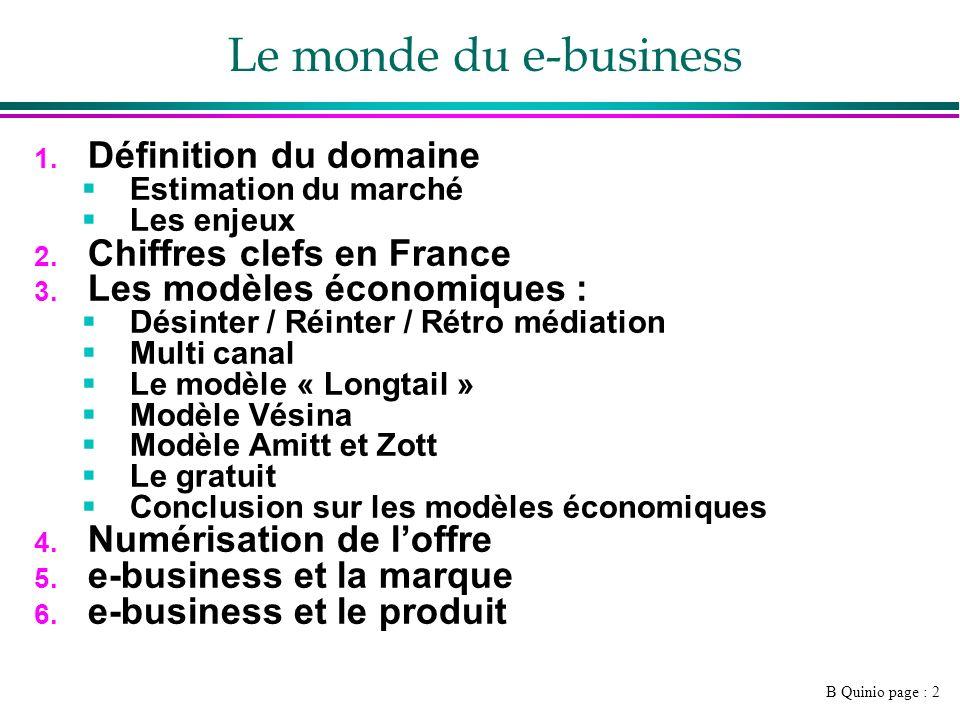 Le monde du e-business Définition du domaine Chiffres clefs en France