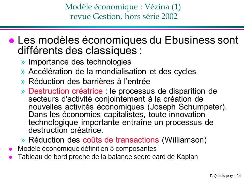Modèle économique : Vézina (1) revue Gestion, hors série 2002