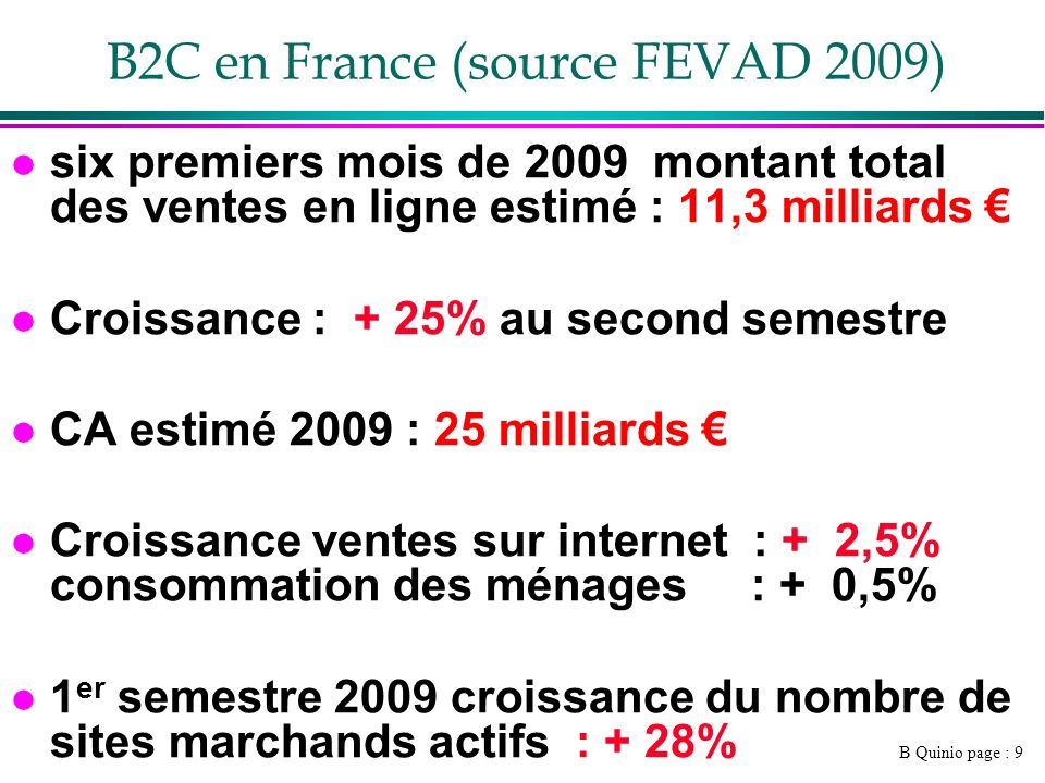 B2C en France (source FEVAD 2009)