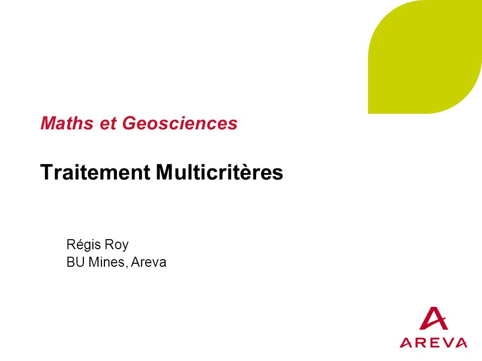 Maths et Geosciences Traitement Multicritères