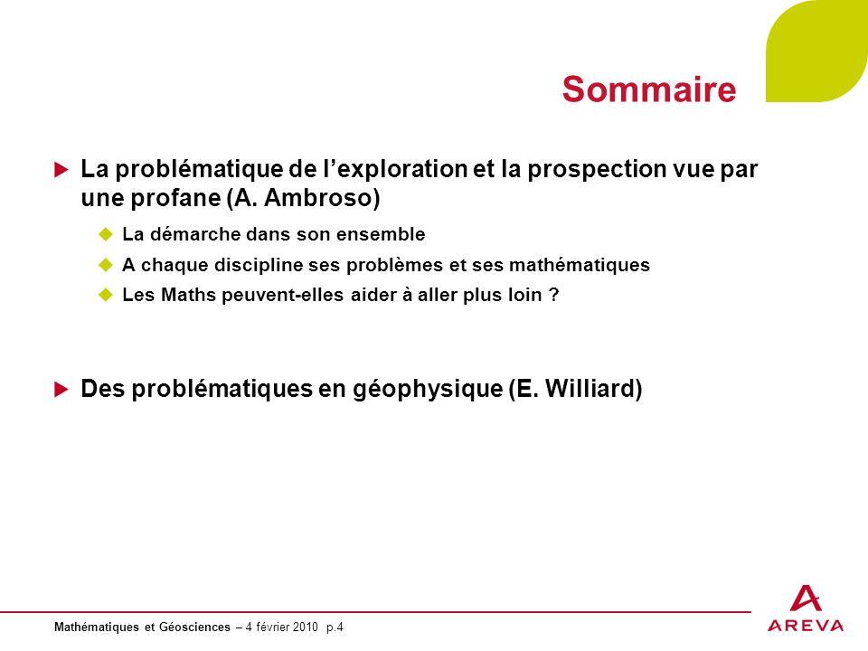Sommaire La problématique de l'exploration et la prospection vue par une profane (A. Ambroso) La démarche dans son ensemble.
