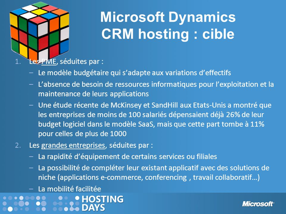 Microsoft Dynamics CRM hosting : cible