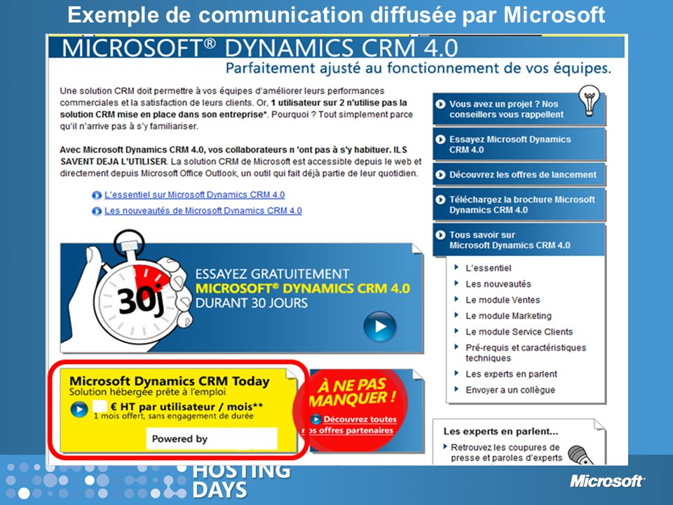 Exemple de communication diffusée par Microsoft