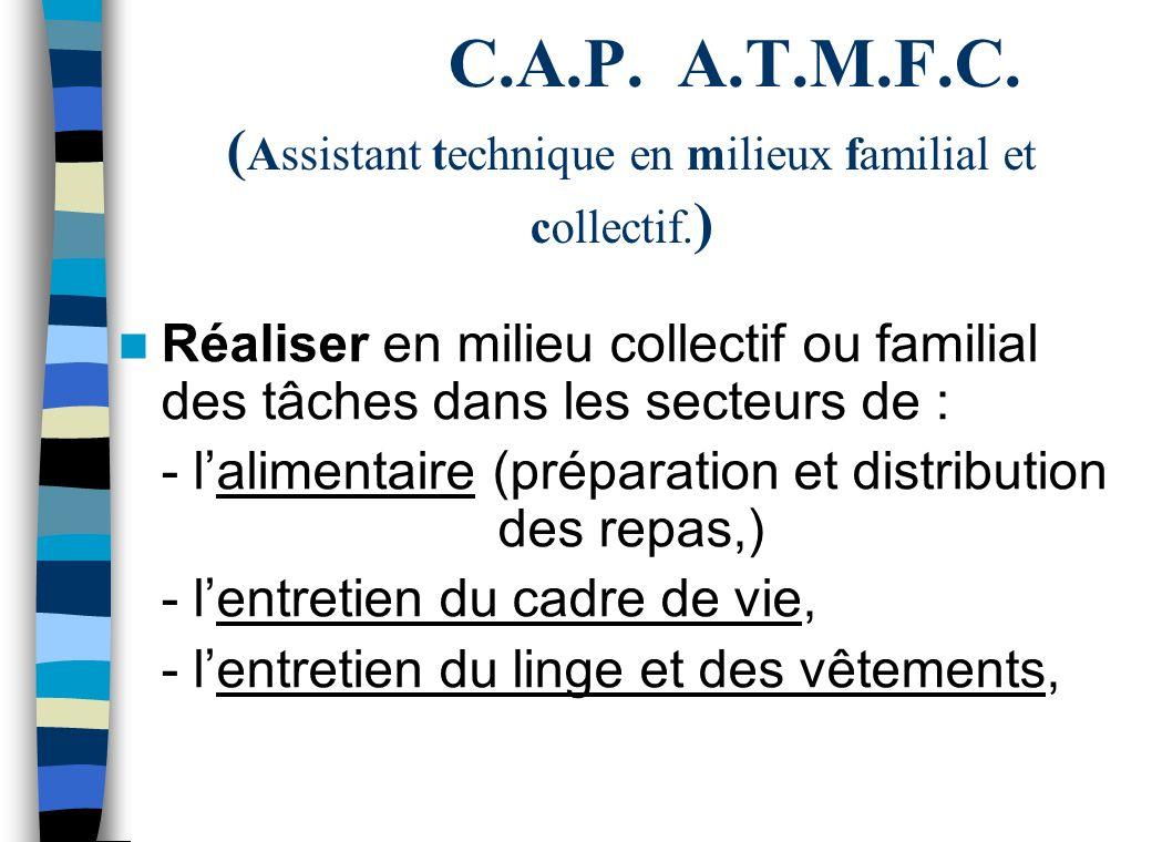 C.A.P. A.T.M.F.C. (Assistant technique en milieux familial et collectif.)