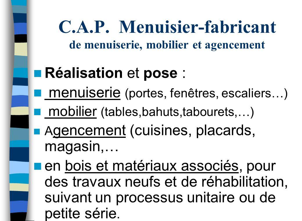 C.A.P. Menuisier-fabricant de menuiserie, mobilier et agencement