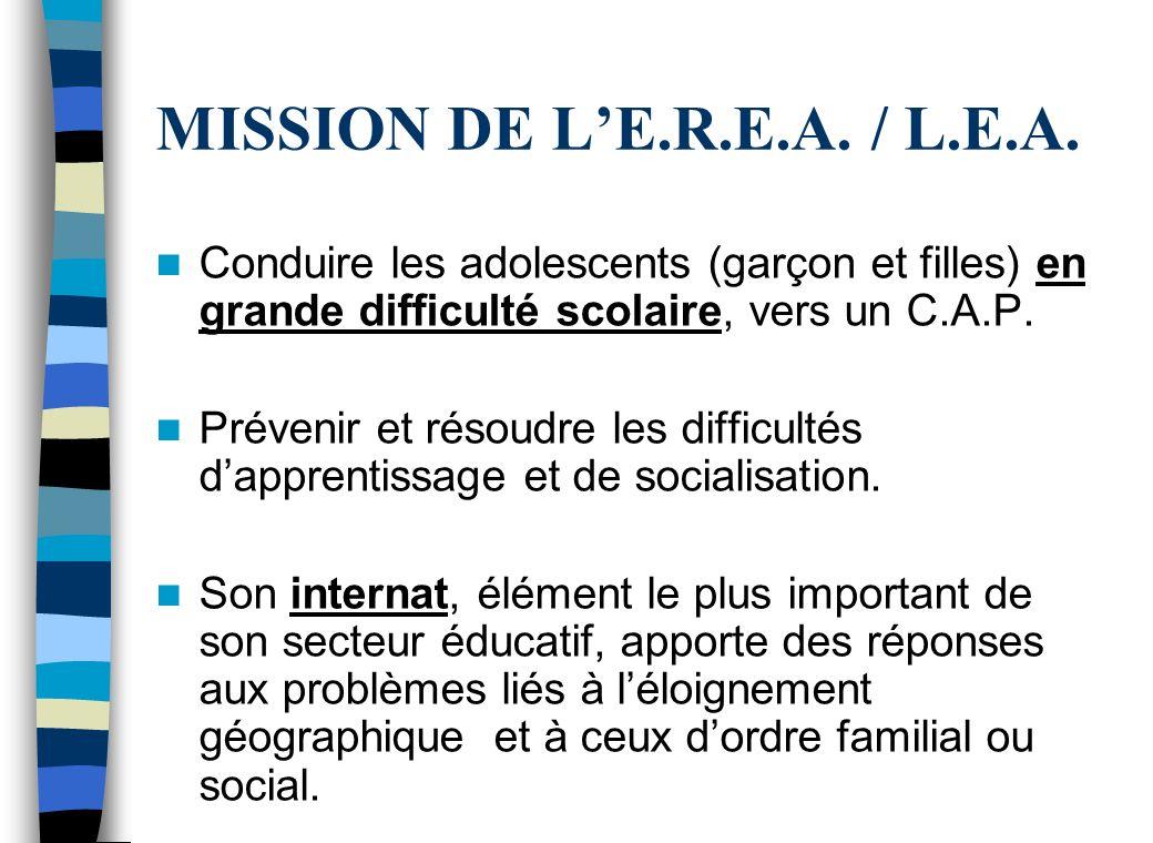 MISSION DE L'E.R.E.A. / L.E.A. Conduire les adolescents (garçon et filles) en grande difficulté scolaire, vers un C.A.P.
