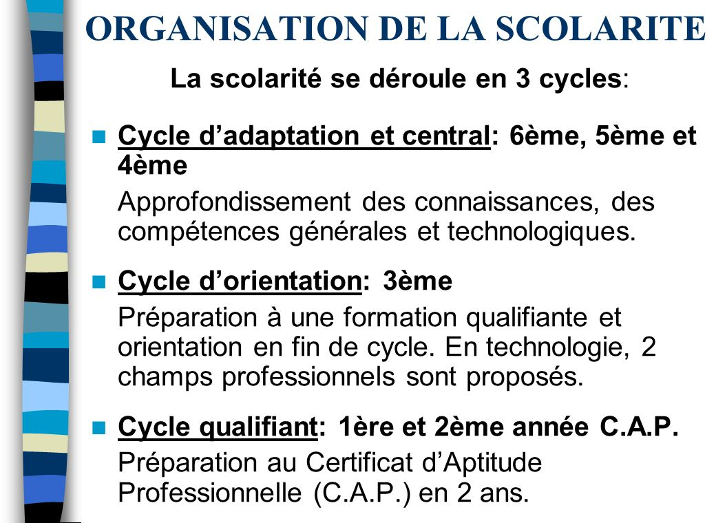 ORGANISATION DE LA SCOLARITE