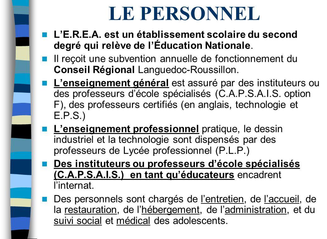 LE PERSONNEL L'E.R.E.A. est un établissement scolaire du second degré qui relève de l'Éducation Nationale.