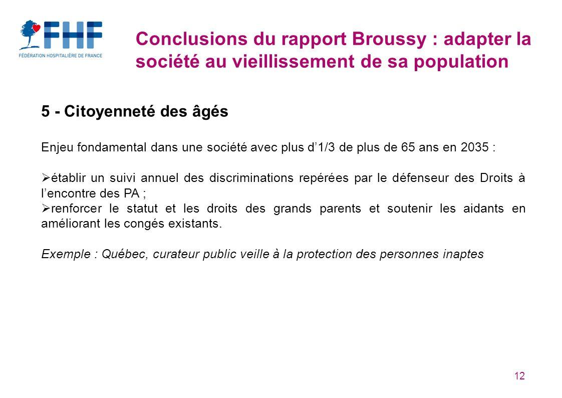 Conclusions du rapport Broussy : adapter la société au vieillissement de sa population