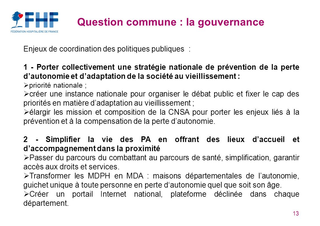 Question commune : la gouvernance