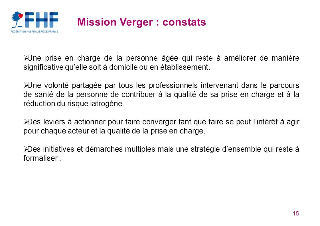 Mission Verger : constats
