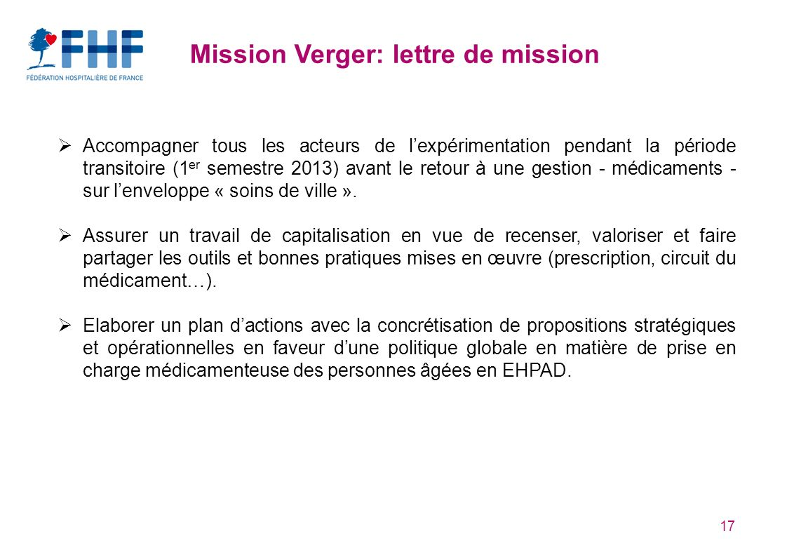 Mission Verger: lettre de mission