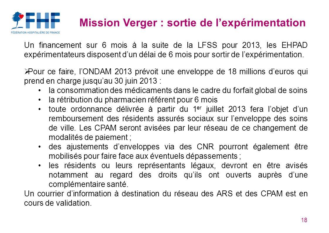 Mission Verger : sortie de l'expérimentation