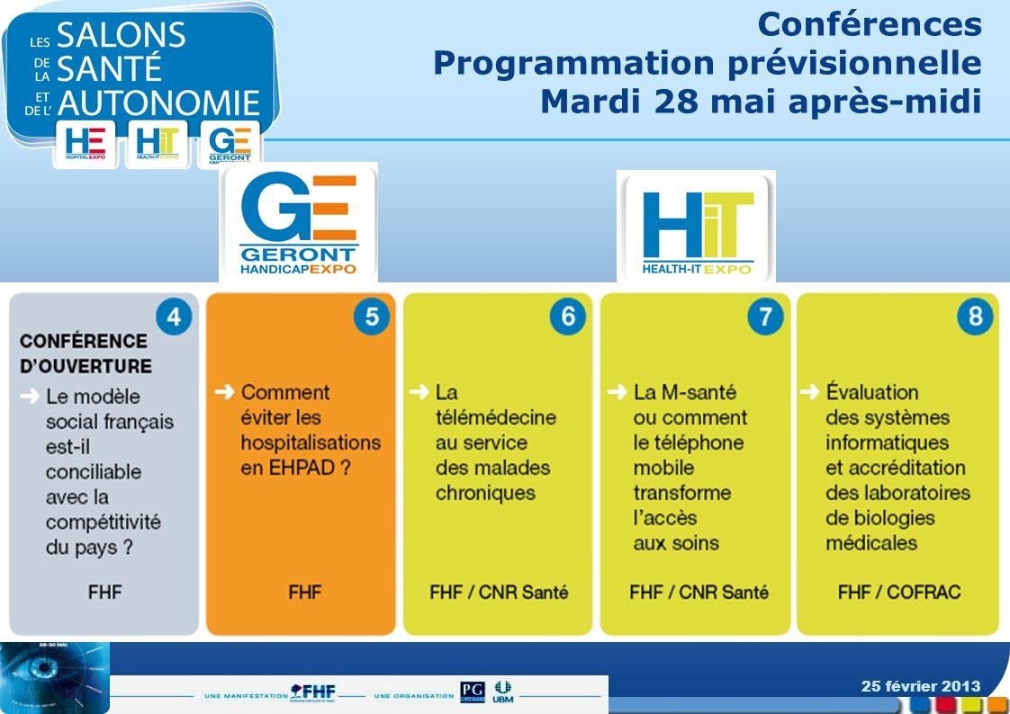 Conférences Programmation prévisionnelle Mardi 28 mai après-midi