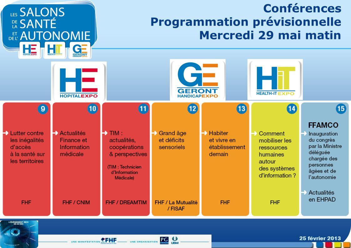 Conférences Programmation prévisionnelle Mercredi 29 mai matin